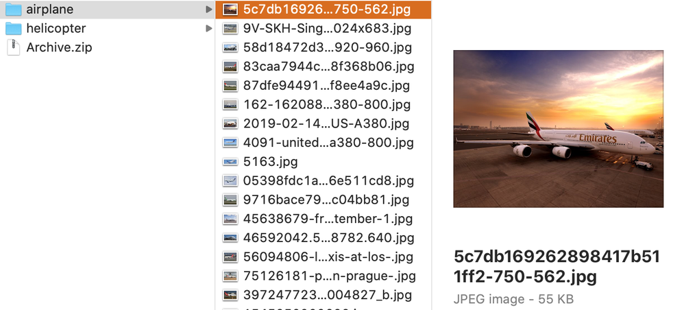 Shows 2 folders: airplanes and helicopters. The Archive.zip file is simply the 2 folders zipped together.