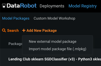 Figure 14. Add new model package from file