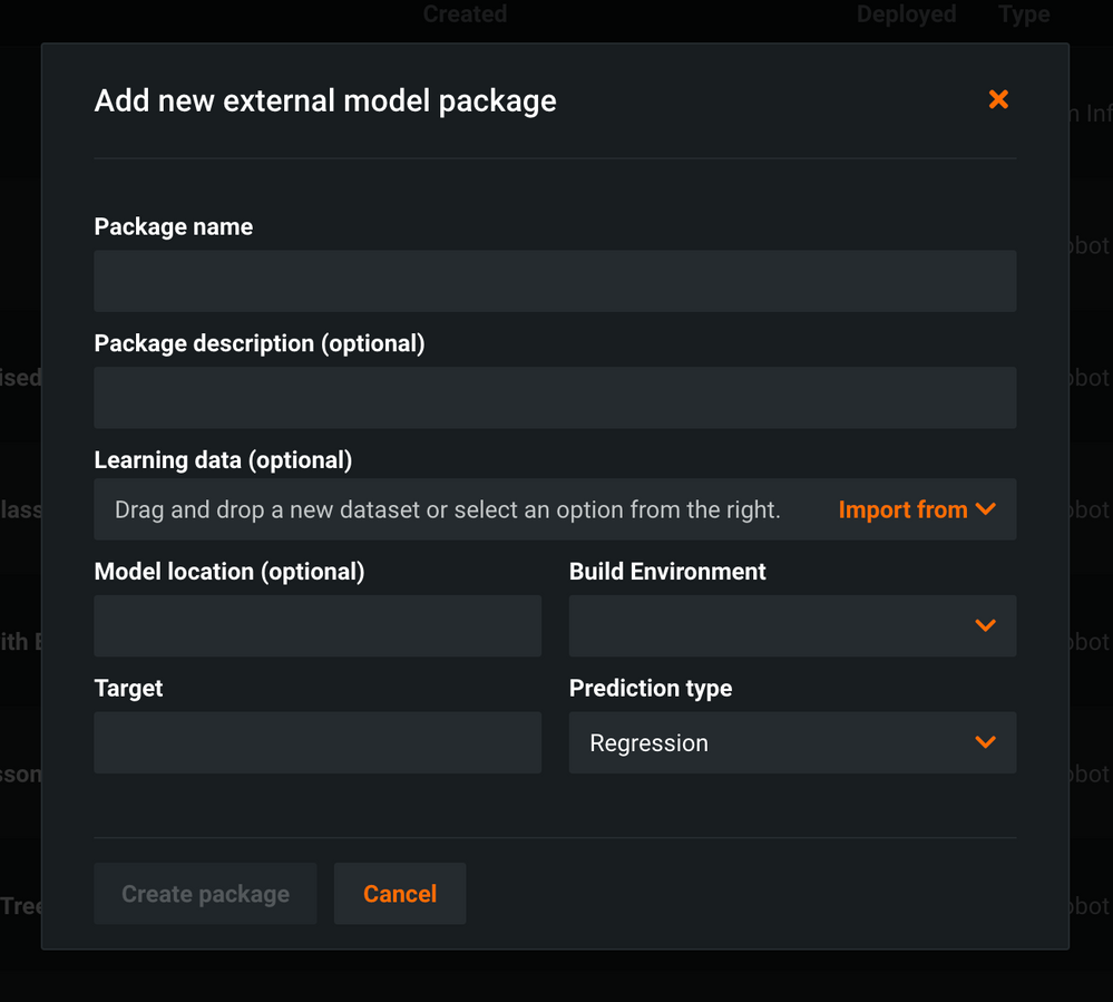Figure 18. Add new model package fields