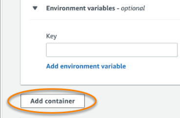 Figure 8. Add container button