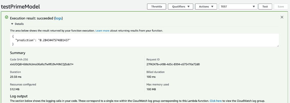 Figure 8. Testing Lambda function