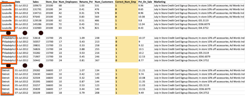 """Figure 1. Dataset in long format with stores """"stacked"""" on top of each other, with a mixture of data types including date, text, categorical, and numeric"""