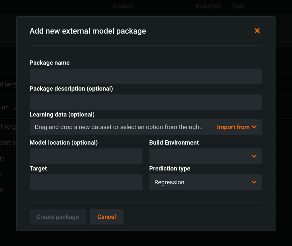 Figure 4. Add new external model package