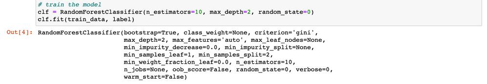 Figure 8. Training a model (random forest classifier)