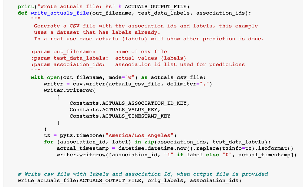 Figure 12. Write actuals file  to simulate submitting actuals