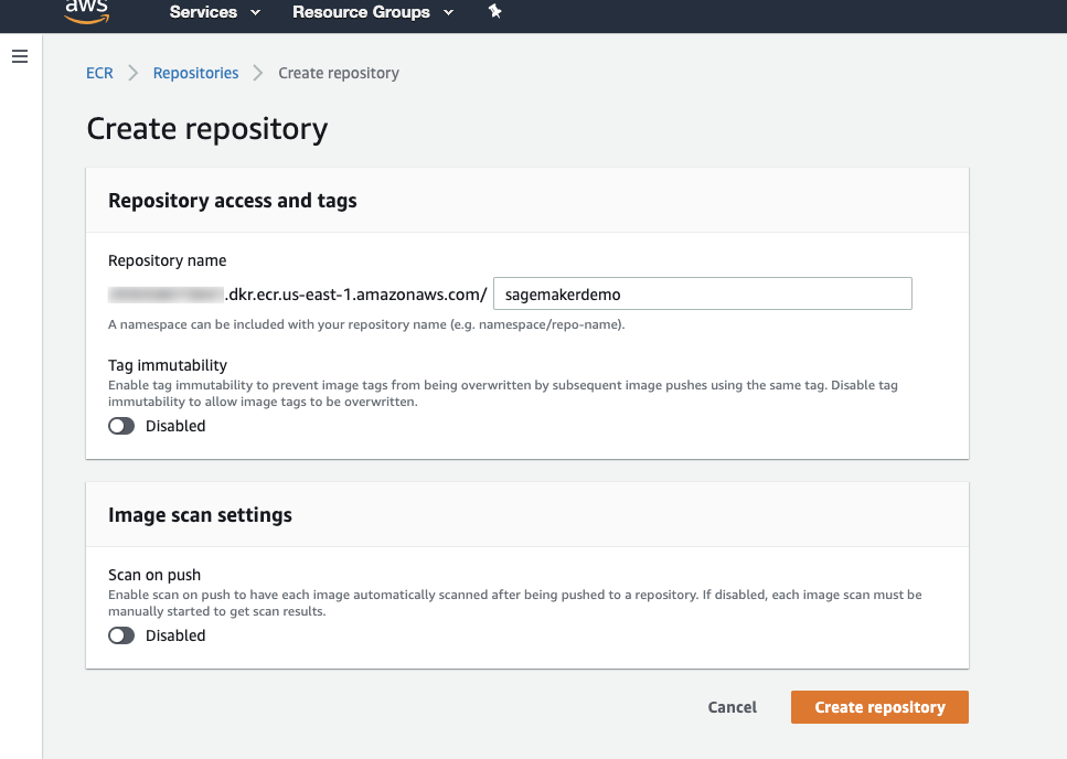 Figure 16. Create repository page