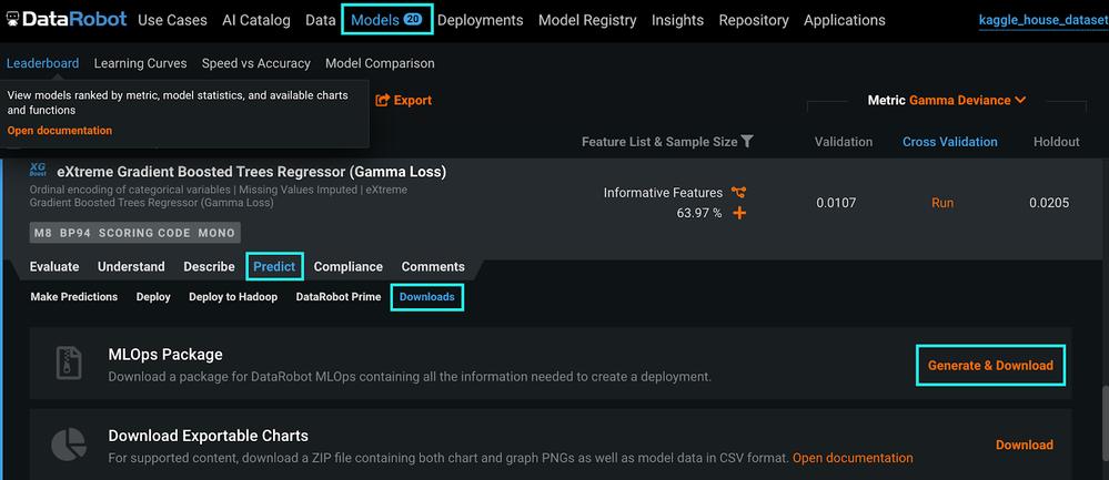 Figure 3. Generate & Download MLOps package