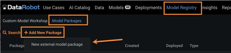 Figure 9. Create new external model package