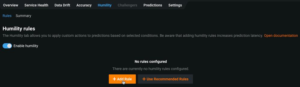 Figure 6. Enabling humility rules and creating custom rules