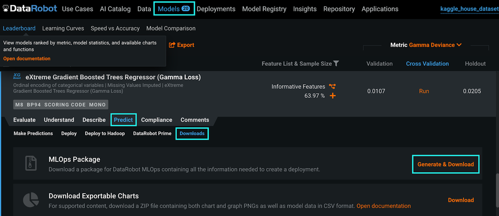 Figure 1. Generate & Download MLOps package