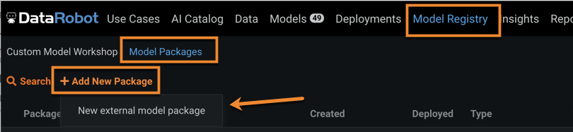 Figure 6. Create new external model package