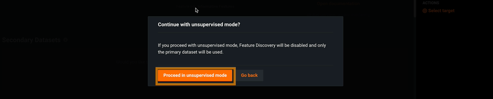 Figure 4. Proceed to Unsupervised Mode button