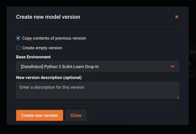 Figure 15. Creating new model versions