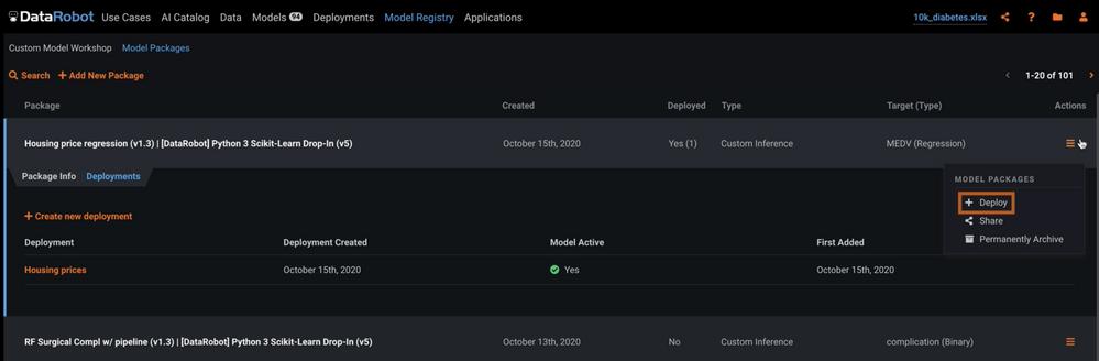 Figure 22. Select Deploy to deploy custom model
