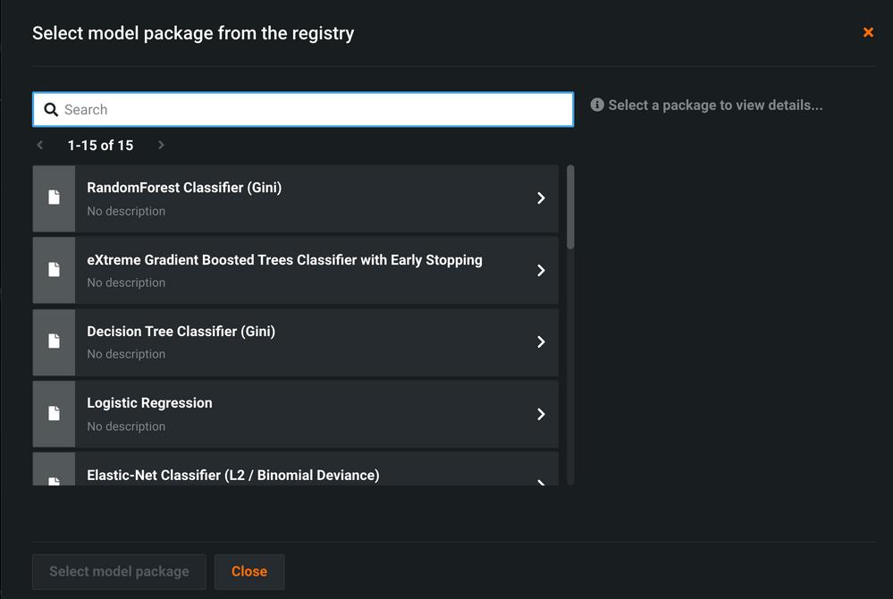 Figure 5. Select challenger model from model registry