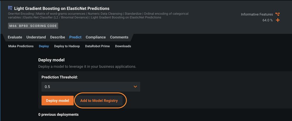 Figure 3. Deploy model - add to model registry