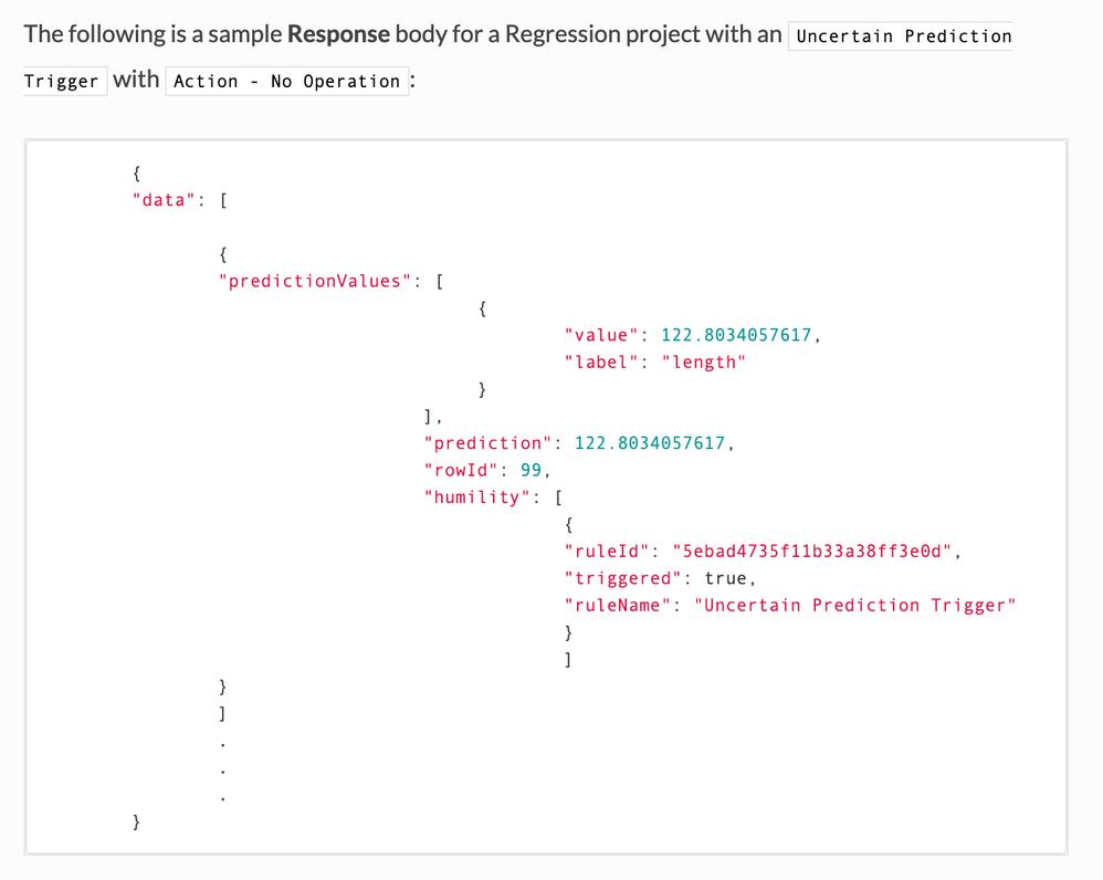 Figure 11. Example API response