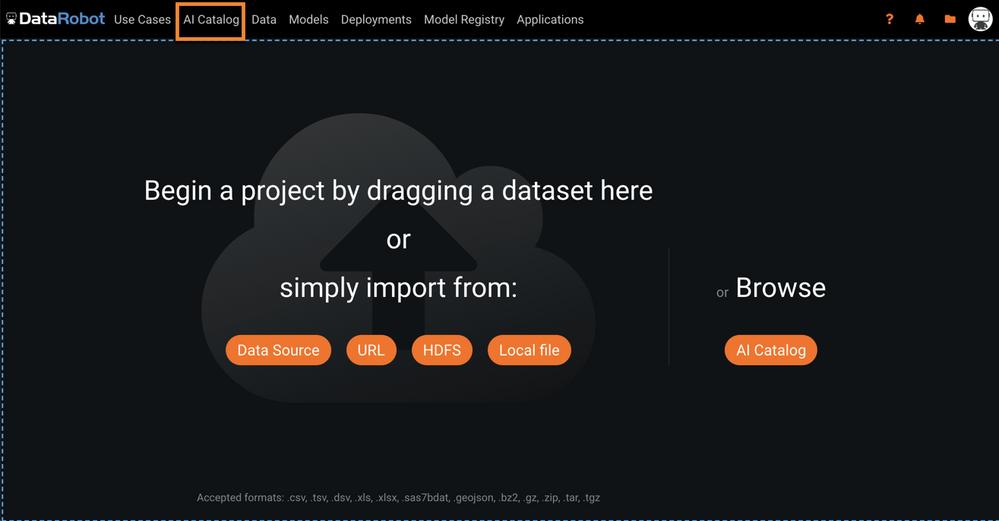 Figure 1. DataRobot landing page
