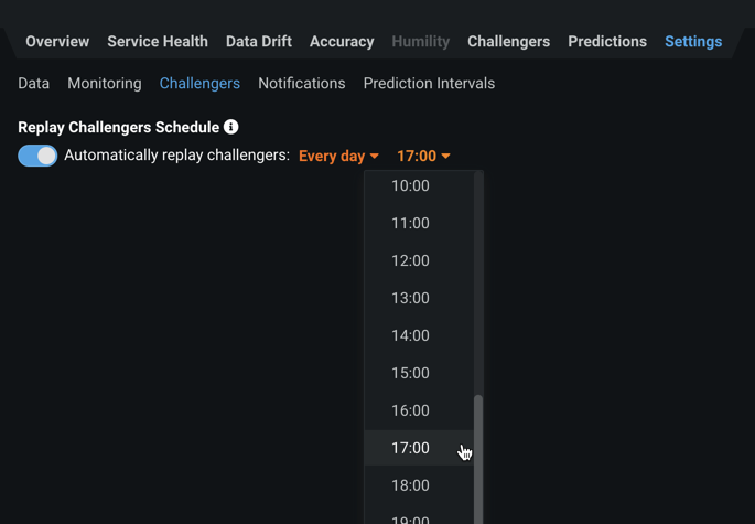 Figure 10. Set schedule for replaying predictions