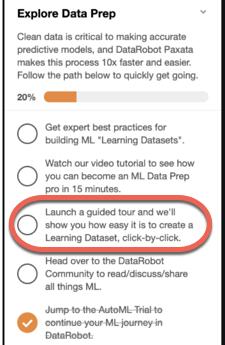 Figure 1. Explore Data Prep checklist